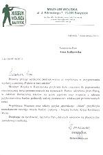 感謝状(日本文化紹介イベント共催):Muzeum Wojska
